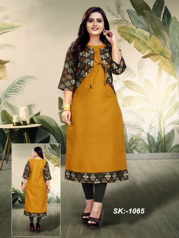 Yellow Color Ruby Cotton Women's Kurti - SKE-1065