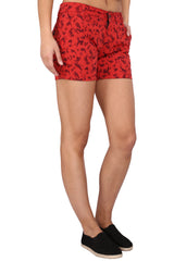 Red Color Cotton Lycra Women's Short - KWS1001