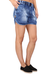 Blue Color Cotton Lycra Women's Short - KWS3003