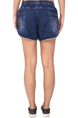 Blue Color Cotton Lycra Women's Short - KWS3007