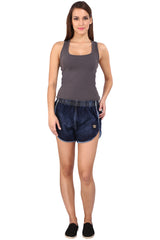 Dark Blue Color Cotton Lycra Women's Short - KWS3008