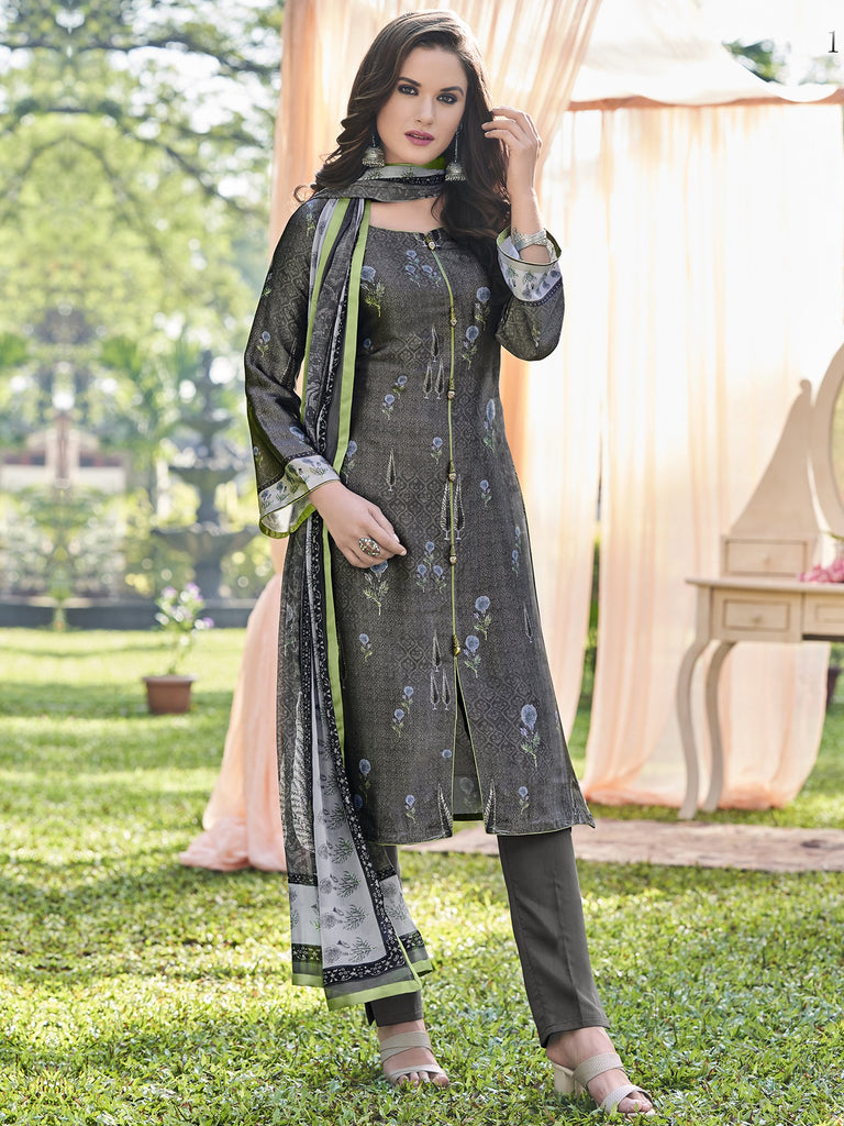 Buy Grey Color Satin Unstitched Dress Material