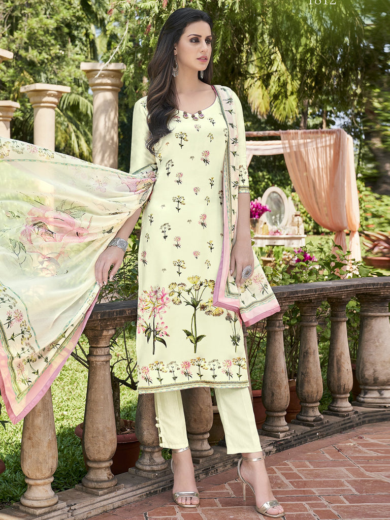 Buy Green Color Satin Unstitched Dress Material