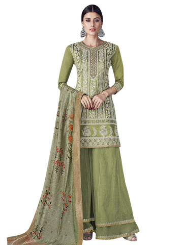 Green Color Chanderi Silk Women's Semi Stitched Salwar Suit - SL-2185