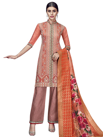 Rust Color Chanderi Silk Women's Semi Stitched Salwar Suit - SL-2188