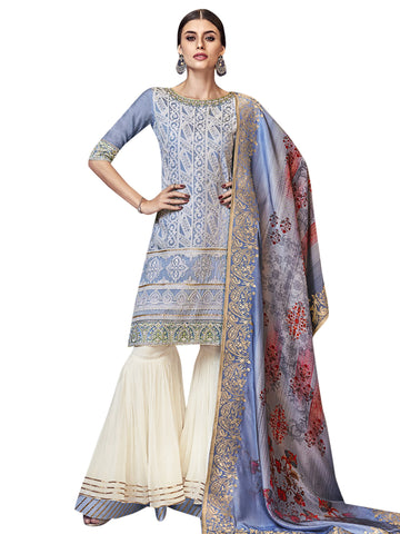 Sky Blue Color Chanderi Silk Women's Semi Stitched Salwar Suit - SL-2189