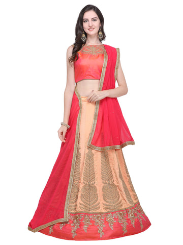 Peach Color Silk Blend Women's Semi Stitched Lehenga - SL-2207