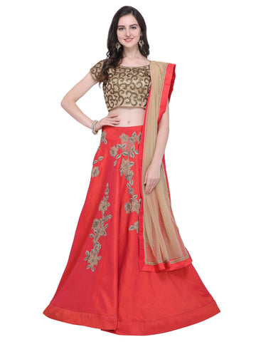 Red Color Raw Silk Women's Semi Stitched Lehenga - SL-2210