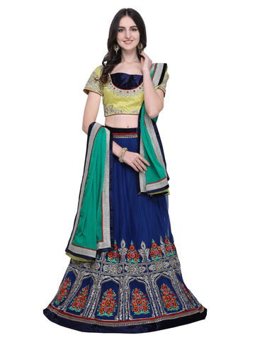 Blue Color Net Women's Semi Stitched Lehenga - SL-2217
