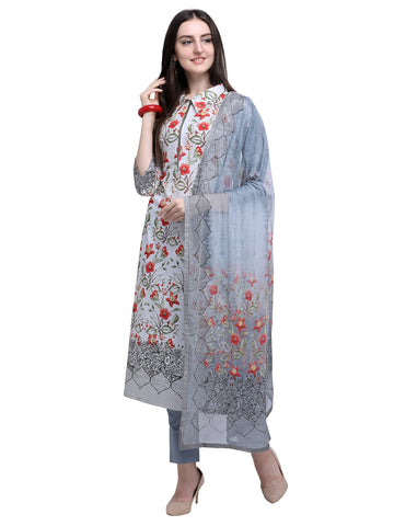 Off White Color Cotton Women's Un-Stitched Salwar Dress Material - SL-2218