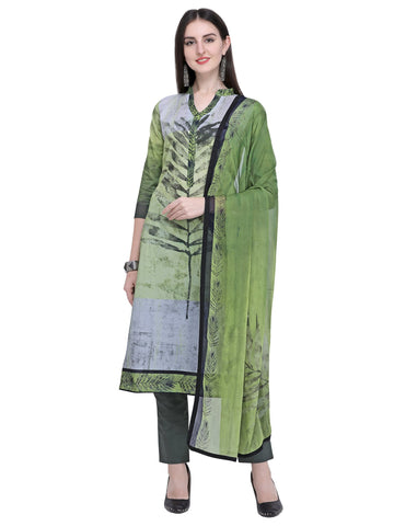 Green Color Cotton Women's Un-Stitched Salwar Dress Material - SL-2220
