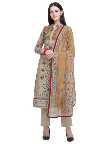 Olive Color Cotton Women's Un-Stitched Salwar Dress Material - SL-2227