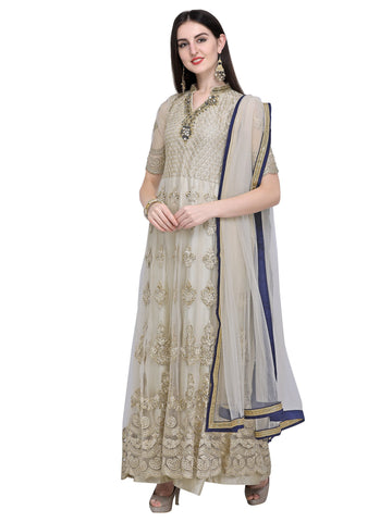 Cream Color Net Women's Semi-Stitched Salwar Suit - SL-2233
