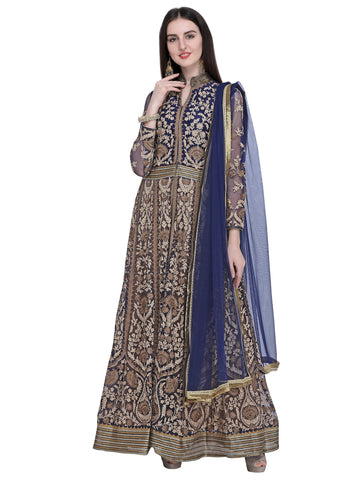 Navy Blue Color Net Women's Semi-Stitched Salwar Suit - SL-2235