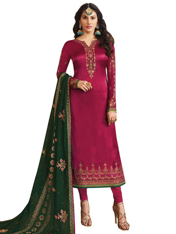 Magenta Color Satin Women's Semi-Stitched Salwar Suit - SL-2238