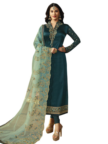 Blue Color Satin Women's Semi-Stitched Salwar Suit - SL-2239