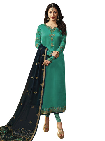 Green Color Satin Women's Semi-Stitched Salwar Suit - SL-2244
