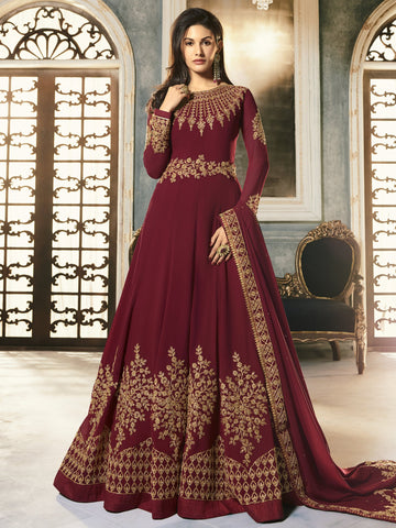 Maroon Color Maroon Women's Semi-Stitched Salwar suit - SL-2246