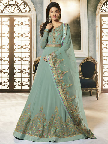 Green Color Green Women's Semi-Stitched Salwar suit - SL-2247