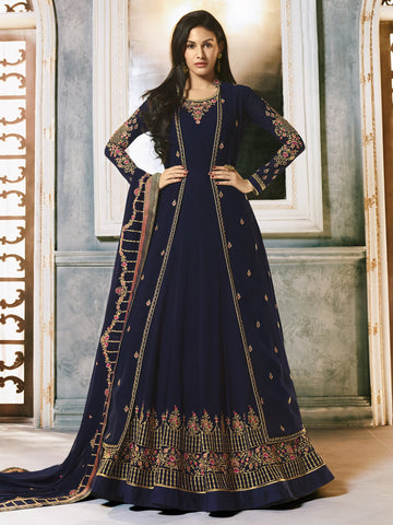 Navy Blue Color Navy Blue Women's Semi-Stitched Salwar suit - SL-2248