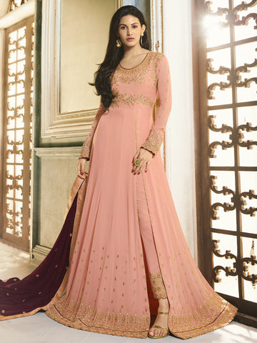 Peach Color Peach Women's Semi-Stitched Salwar suit - SL-2249
