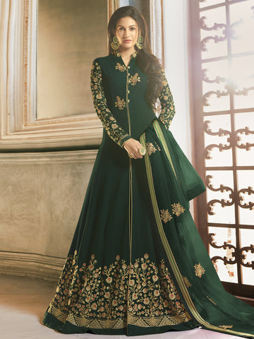 Green Color Green Women's Semi-Stitched Salwar suit - SL-2250