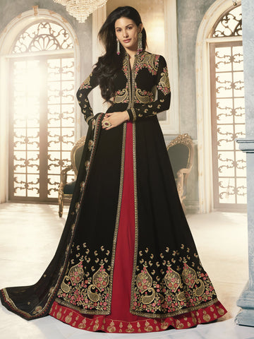 Black Color Black Women's Semi-Stitched Salwar suit - SL-2252