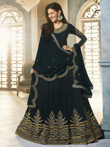 Navy Blue Color Navy Blue Women's Semi-Stitched Salwar suit - SL-2253