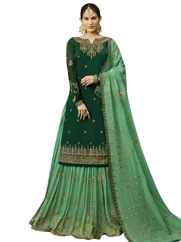 Green Color Satin Women's Semi-Stitched Salwar Suit - SL-2255