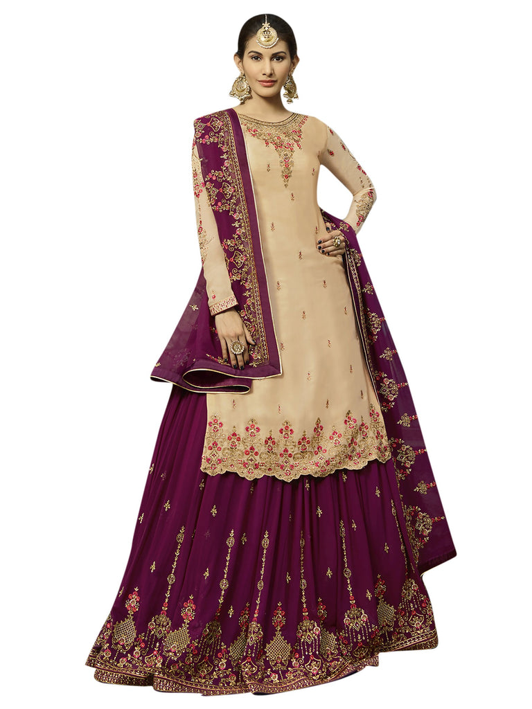 Buy Beige Color Satin Women's Semi-Stitched Salwar Suit