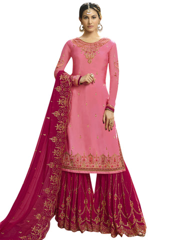 Pink Color Satin Women's Semi-Stitched Salwar Suit - SL-2257