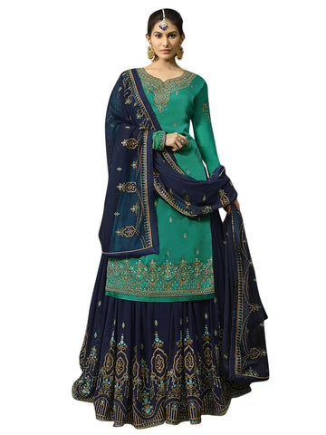Green Color Satin Women's Semi-Stitched Salwar Suit - SL-2258