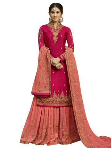 Magenta Color Satin Women's Semi-Stitched Salwar Suit - SL-2259