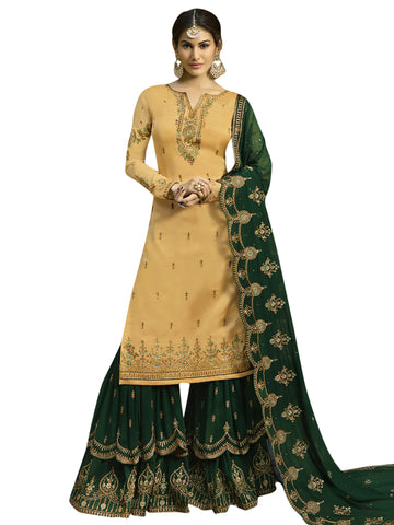 Yellow Color Satin Women's Semi-Stitched Salwar Suit - SL-2260