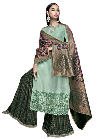 Green Color Satin Women's Semi-Stitched Salwar Suit - SL-2270