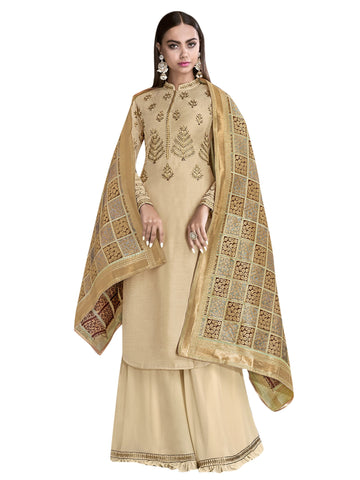 Beige Color Satin Women's Semi-Stitched Salwar Suit - SL-2272
