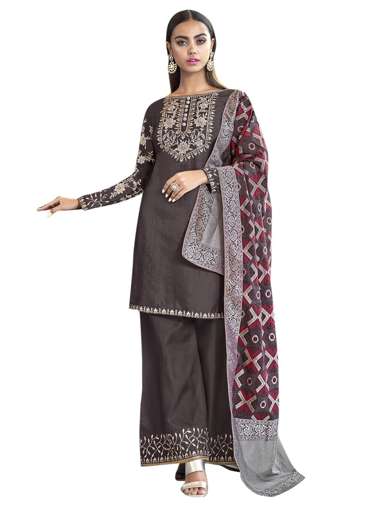 Buy Coffee Color Art Silk Women's Semi-Stitched Salwar Suit