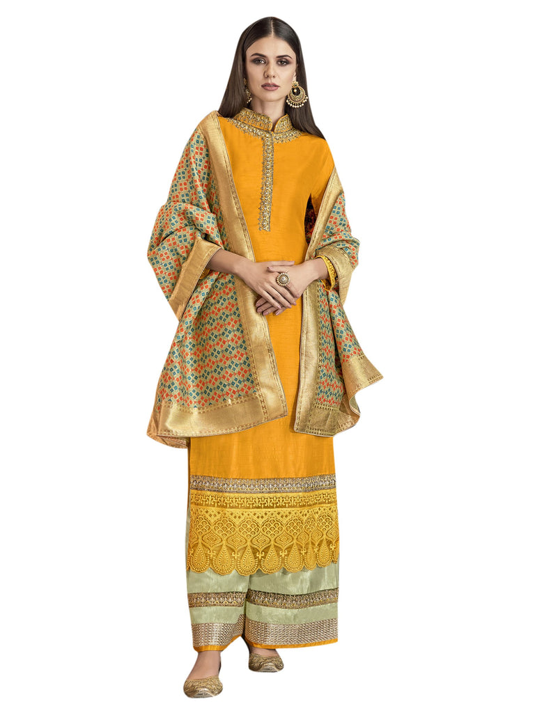 Buy Yellow Color Satin Women's Semi-Stitched Salwar Suit