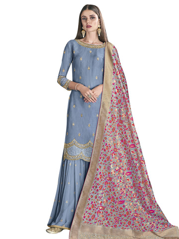 Blue Color Satin Women's Semi-Stitched Salwar Suit - SL-2276