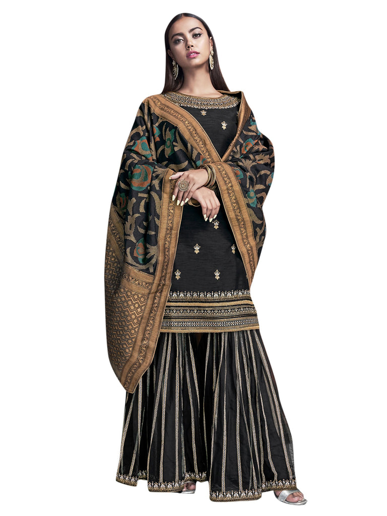 Buy Black Color Raw Silk Women's Semi-Stitched Salwar Suit