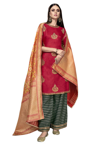 Red Color Satin Women's Semi-Stitched Salwar Suit - SL-2279