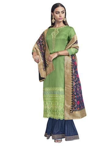 Green Color Satin Women's Semi-Stitched Salwar Suit - SL-2280
