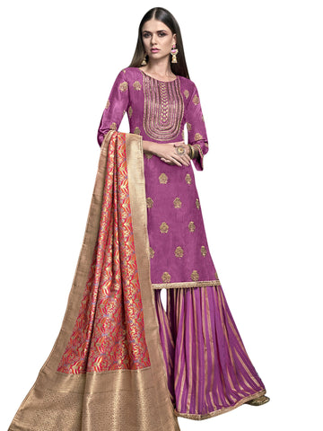 Purple Color Satin Women's Semi-Stitched Salwar Suit - SL-2281