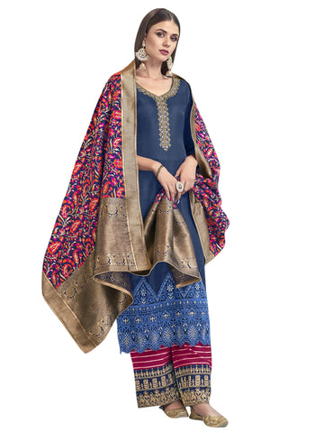 Navy Blue Color Satin Women's Semi-Stitched Salwar Suit - SL-2282