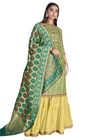 Green Color Art Silk Women's Semi-Stitched Salwar Suit - SL-2283