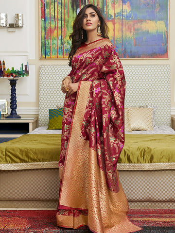 Red Color Banarasi Silk Women's Saree - SL-2284