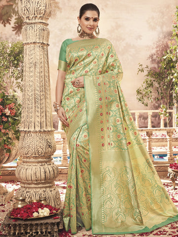 Green Color Banarasi Silk Women's Saree - SL-2292