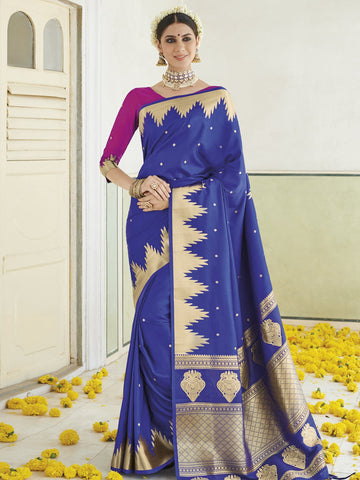 Blue Color Banarasi Silk Women's Saree - SL-2294