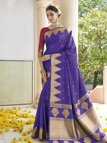 Violet Color Banarasi Silk Women's Saree - SL-2297