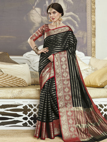 Black Color Banarasi Silk Women's Saree - SL-2299